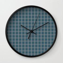 Christmas Winter Night Blue Tartan Check Plaid Wall Clock