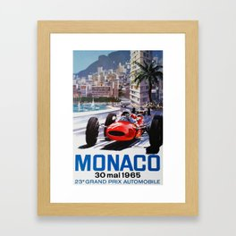 Grand Prix Monaco, 1965, vintage poster, race poster Framed Art Print