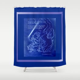 Warrior Girl 5 With Heavenly Host Shower Curtain