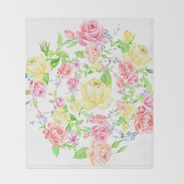 Bouquet of PINK, RED & YELLOW rose - wreath Throw Blanket