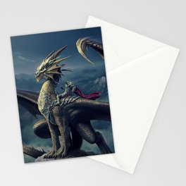 Stunning Amazing Warrior Riding Winged Fairytale Reptile Monster UHD Stationery Cards