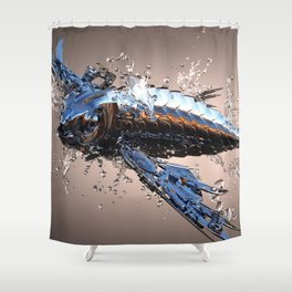 3D Model Metal Fish Shower Curtain