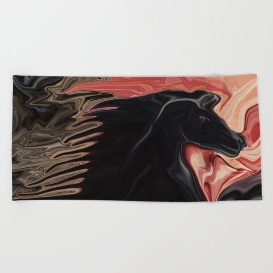 Stallion with the Heart of a Cat Beach Towel