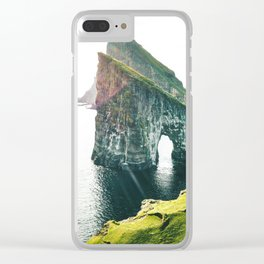 on top of the rock at faroe Clear iPhone Case