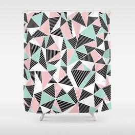 AbLines with Blush Mint Blocks Shower Curtain