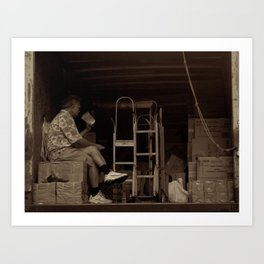 Man eating inside the van. Chinatown, New York City Art Print