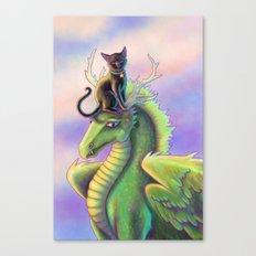 Black Cat Riding a Dragon Canvas Print