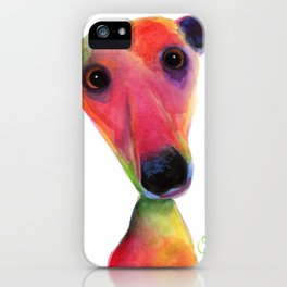 Nosey Dog Whippet Greyhound ' BERTA ' by Shirley MacArthur iPhone Case