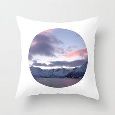 Telescope 8 ice mountain sunset Throw Pillow