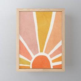 Sun, Mid century modern kids wall art, Nursery room Framed Mini Art Print