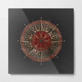 Vegvisir - Viking Compass - Black and red Leather and gold Metal Print
