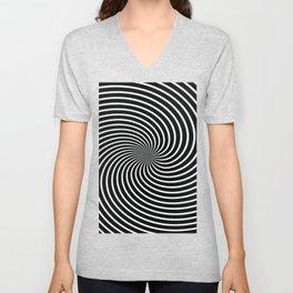 BLACK LICORICE SWIRL Abstract Art Unisex V-Neck