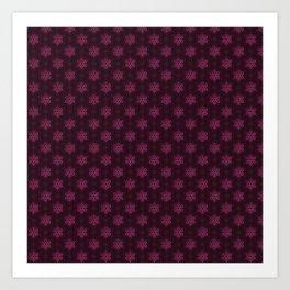 Festive Pink Snowflake Pattern Art Print