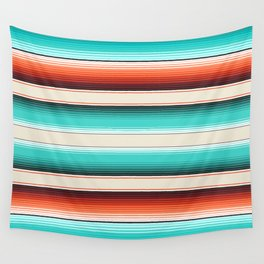 Navajo White, Turquoise and Burnt Orange Southwest Serape Blanket Stripes Wall Tapestry