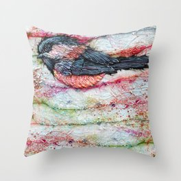 Candied Chickadee 4 Throw Pillow
