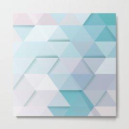 Pale Mint Blue Triangles Metal Print