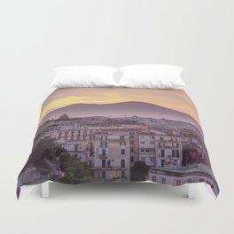 Napoli, landscape with volcano Vesuvio and sea Duvet Cover
