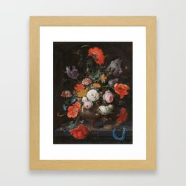 Abraham Mignon - Still life with flowers and a watch - 1660/1679 Framed Art Print