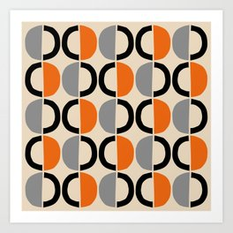 Mid Century Modern Half Circle Pattern 548 Beige Black Gray and Orange Art Print
