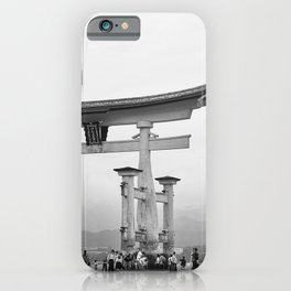 The Torii gate at Itsukushima Shrine in black and white iPhone Case
