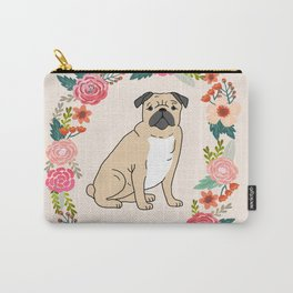 pug floral wreath dog breed pet portrait dog mom Carry-All Pouch