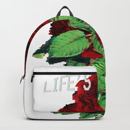 Life's a Glitch Roses. Vaporwave Otaku Glitch Art Print Gif graphic Backpack
