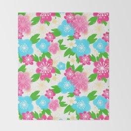 04 Pattern of Watercolor Flowers Throw Blanket