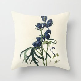 Monks-hood (Aconitum napellus)  from Medical Botany (1836) by John Stephenson and James Morss Church Throw Pillow