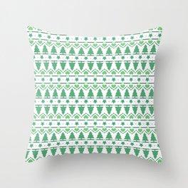 Christmas Tree Pattern- Green Throw Pillow