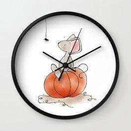 Little Mouse - Pumpkin  Wall Clock