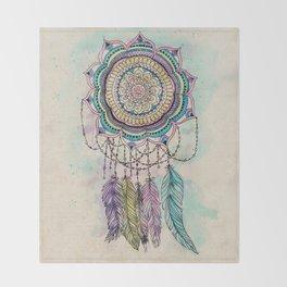 Modern tribal hand paint dreamcatcher mandala design Throw Blanket