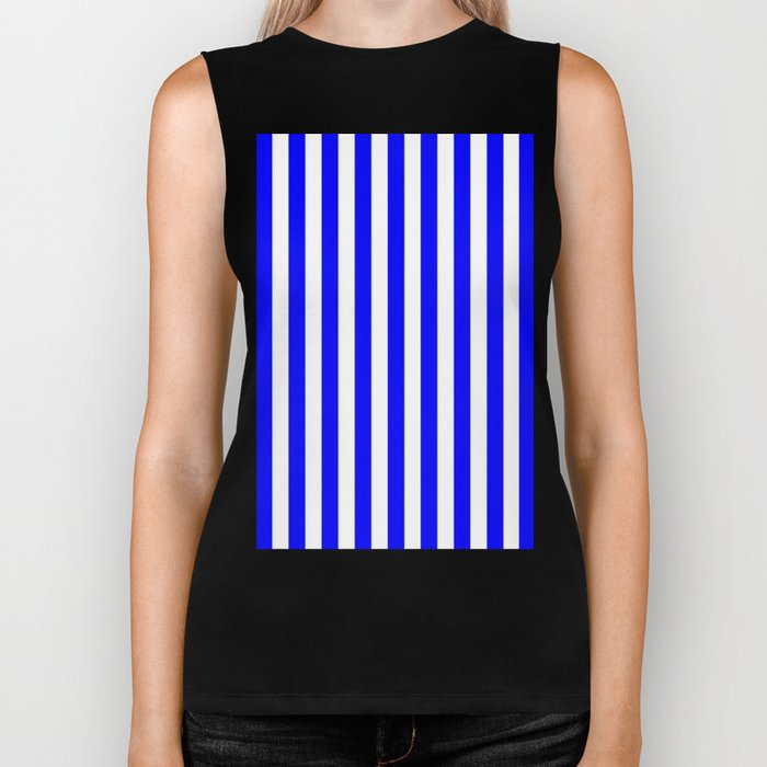 Vertical Stripes (Blue/White) Biker Tank