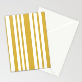 Irregular Vertical Stripes in Mustard Yellow and White Stationery Cards