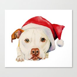 Christmas Pit Bull Terrier Dog with Santa Hat Canvas Print