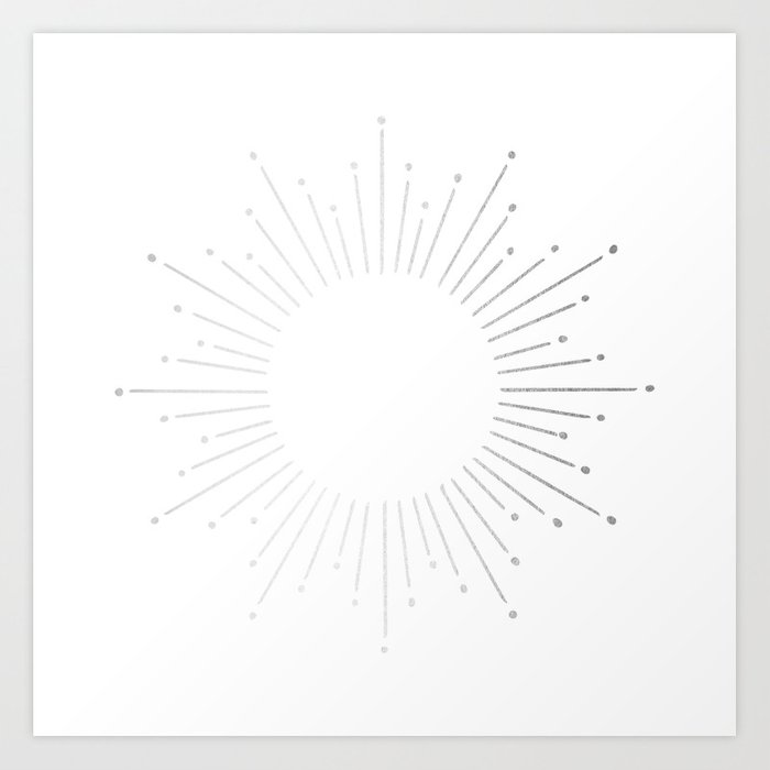 Sunburst Moonlight Silver on White Art Print