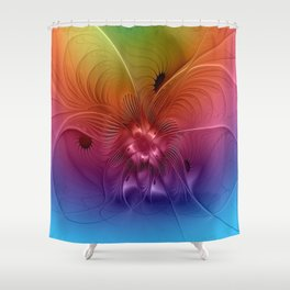 Colorful Abstract Fantasy Fractal Shower Curtain
