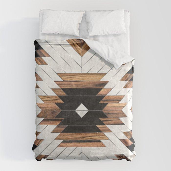 Urban Tribal Pattern No.5 - Aztec - Concrete and Wood Bettbezug