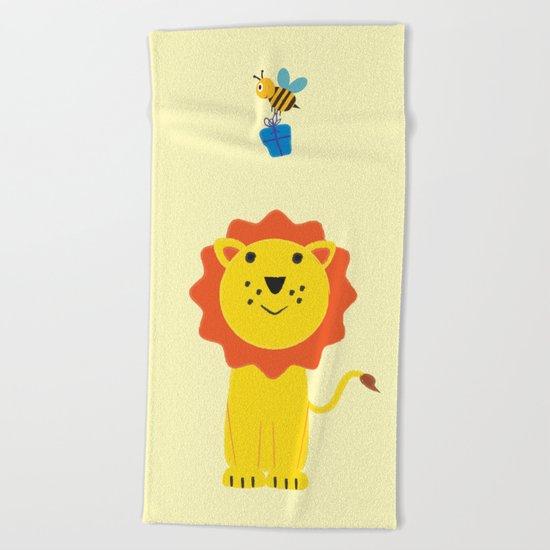 Lion and bee Beach Towel