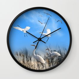 White Egrets in a Morning 1 Wall Clock