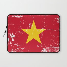 Vietnam Flag with Grunge effect Laptop Sleeve