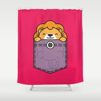 pocket fuel Shower Curtains featuring Pocket Lion by Steven Toang