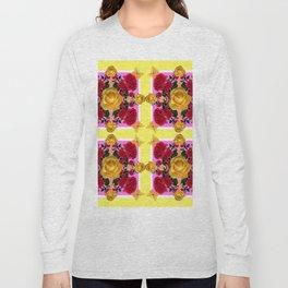 RED-YELLOW ROSES & YELLOW BUTTERFLIES ART Long Sleeve T-shirt