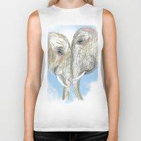 elephants Biker Tanks featuring Elephants by Isabel Sobregrau