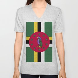 Dominica flag emblem Unisex V-Neck