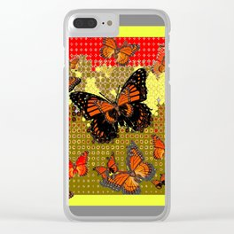 Abstracted Black & Orange Monarch Butterflies Red Clear iPhone Case