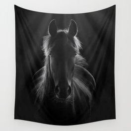 No One To Run With - Beautiful Horse Portrait black and white photograph - photography - photographs Wall Tapestry