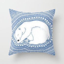 Polar bear, floe, pattern Throw Pillow