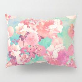 Romantic Pink Retro Floral Pattern Teal Polka Dots Pillow Sham