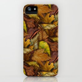 Painted Autumn Leaves iPhone Case