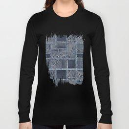 Blue Jeans Denim Patchwork Pattern Long Sleeve T-shirt